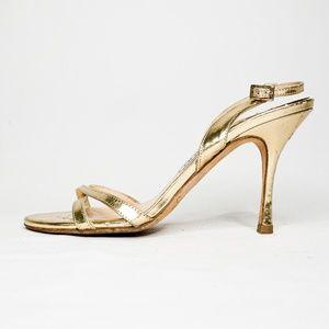 JIMMY CHOO Gold Leather Sandals Stiletto Heel 6